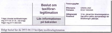 Beslut om taxiförarlegitimation