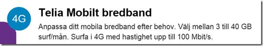 Telia mobilt bredband